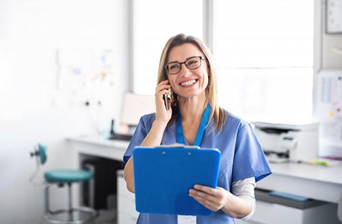 dental team member talking on the phone